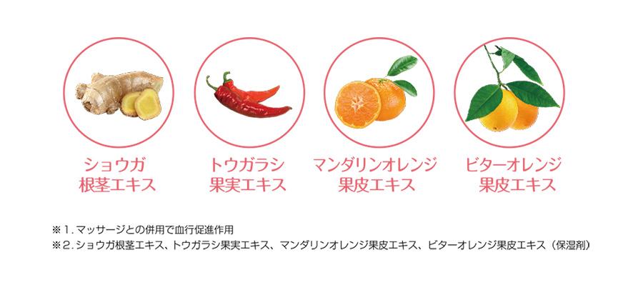 ショウガ根茎エキス、トウガラシ果実エキス、マンダリンオレンジ果皮エキス、ビターオレンジ果皮エキス